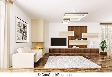 intérieur, salle moderne, render, 3d
