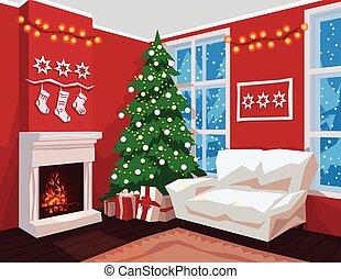 intérieur, salle, noël, walls., coloré, rouges