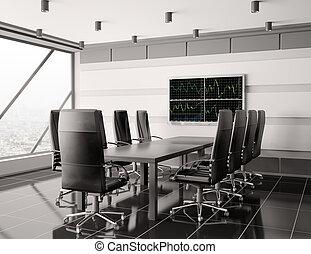 intérieur, salle réunion, lcd, moderne, 3d