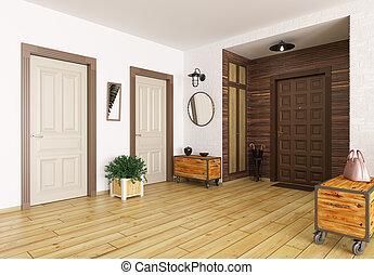 intérieur, salle, render, 3d