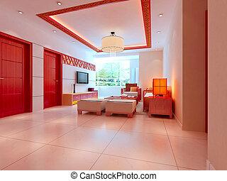 intérieur, salle séjour, moderne, render, 3d