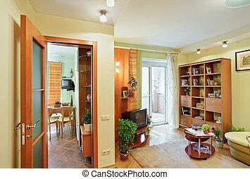 intérieur, salle séjour, vue cuisine, passage