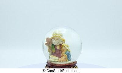intérieur, scène, nativité, cristal, noël, ball.