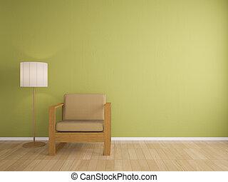 intérieur, sofa, lampe, conception
