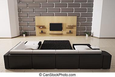 intérieur, sofa, lcd, 3d