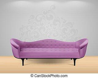 intérieur, sofa, -, maison
