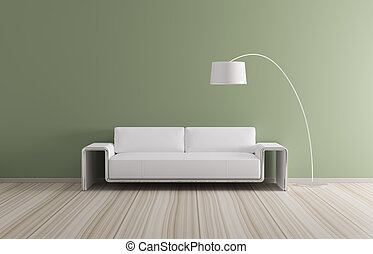 intérieur, sofa, moderne, render, 3d