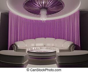 intérieur, sofa, plafond, luxe, rideau