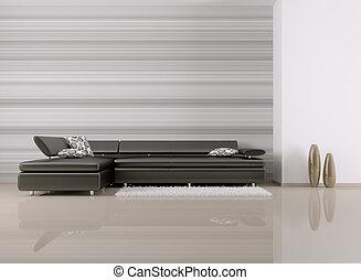 intérieur, sofa, salle, render, 3d