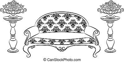 intérieur, sofa, vendange