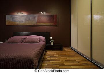intérieur sombre, confortable, chambre à coucher