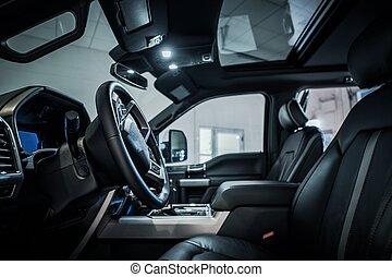 intérieur sombre, pick-up, moderne