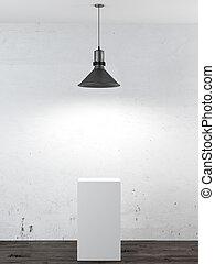 intérieur, stand, lampe plafond, blanc