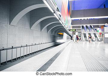 intérieur, station, métro