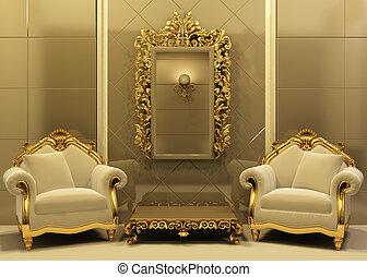 intérieur, style, vieux, cadre, fauteuils, luxe