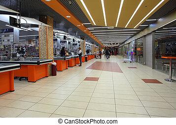 intérieur, supermarché