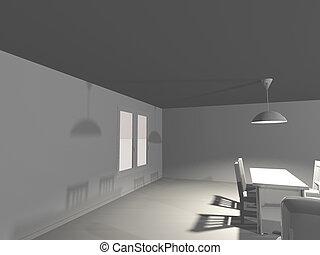 intérieur, table, blanc, render