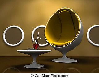 intérieur, table, chaise, moderne, jaune