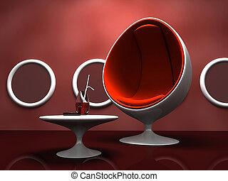 intérieur, table, chaise, moderne, rouges