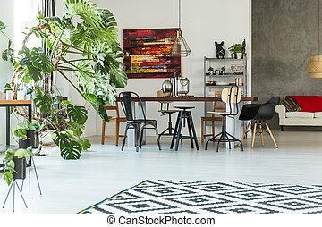 intérieur, table, communal, moderne