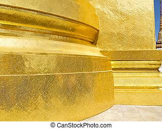 intérieur, temple, pagode, doré, thailand., émeraude