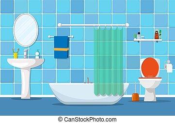 intérieur, toilette, salle bains