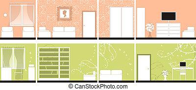 intérieur, tout, conception, murs, salles