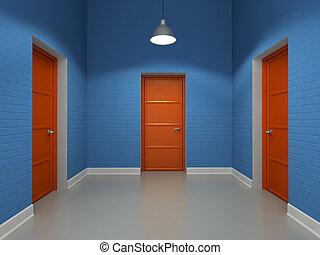 intérieur, trois, rouges, portes