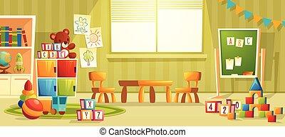 intérieur, vecteur, salle, jardin enfants, dessin animé