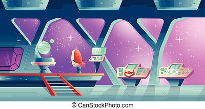 intérieur, vecteur, vaisseau spatial, fond