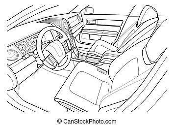 intérieur, vecteur, vehicle., intérieur., machine