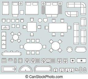 intérieur, vecteur, vue, sommet, meubles, ligne, icônes, ensemble