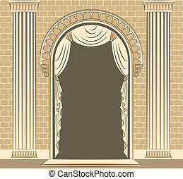 intérieur, vendange, curtain.