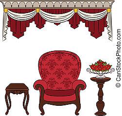intérieur, vendange, meubles