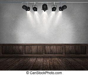intérieur, vendange, salle