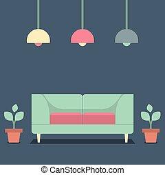 intérieur, vendange, sofa.