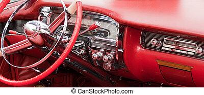 intérieur, vendange, voiture rouge