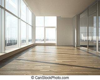 intérieur, verre, bureau, mur