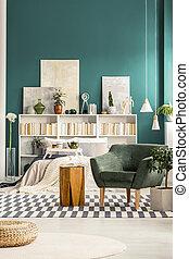 intérieur, vert, confortable, chambre à coucher