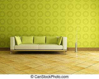 intérieur, vert