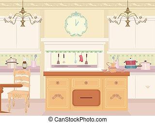 intérieur, victorien, illustration, cuisine