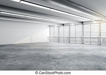 intérieur, vide, moderne, galerie, mur