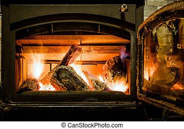 intérieur, vieux, cheminée