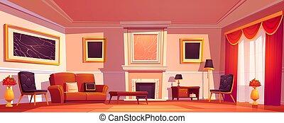 intérieur, vieux, salle de séjour, cheminée, luxe