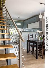 intérieur, villa, gris, fonctionnel