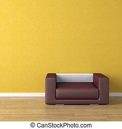 intérieur, violet, conception, divan jaune