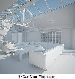 intérieur, vivant, 3d, salle, rendre