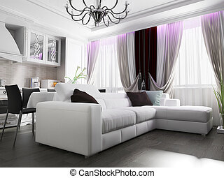 intérieur, vivant, blanche salle