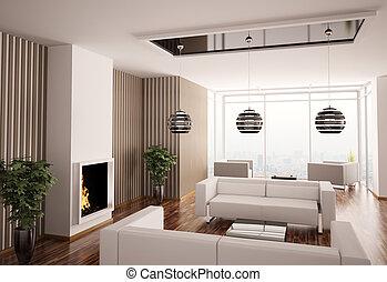 intérieur, vivant, cheminée, salle, 3d