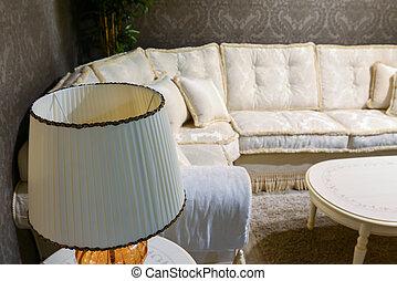 intérieur, vivant, clair, salle, sofa